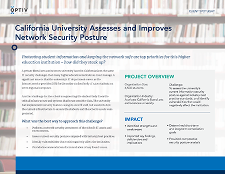 California University Assesses and Improves Network Security Posture