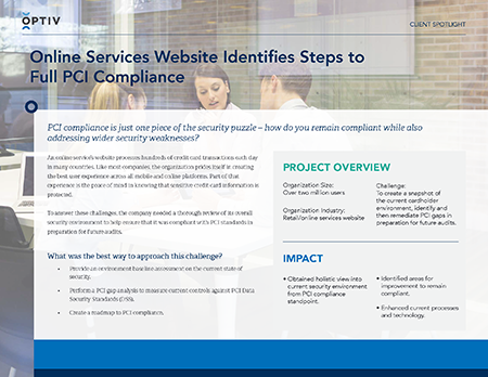 Online Services Website Identifies Steps to Full PCI Compliance