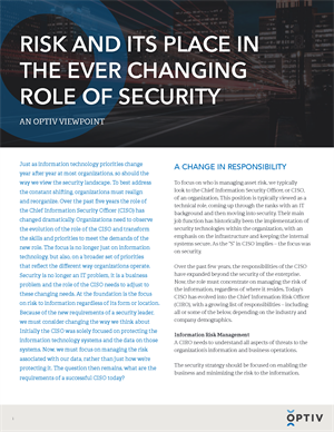 Risk and Its Place in the Ever Changing Role of Security