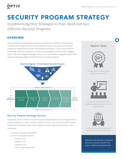 Security Program Strategy Service Guide