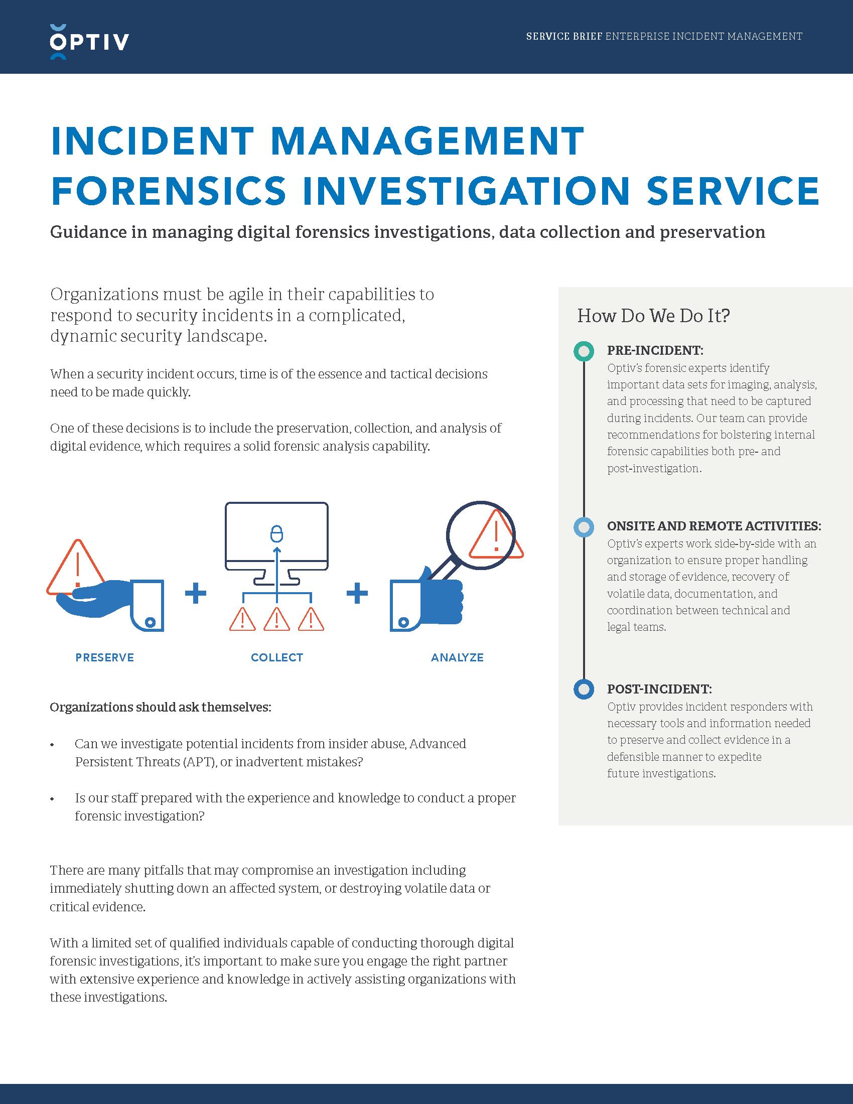 Incident Management Forensics Investigation