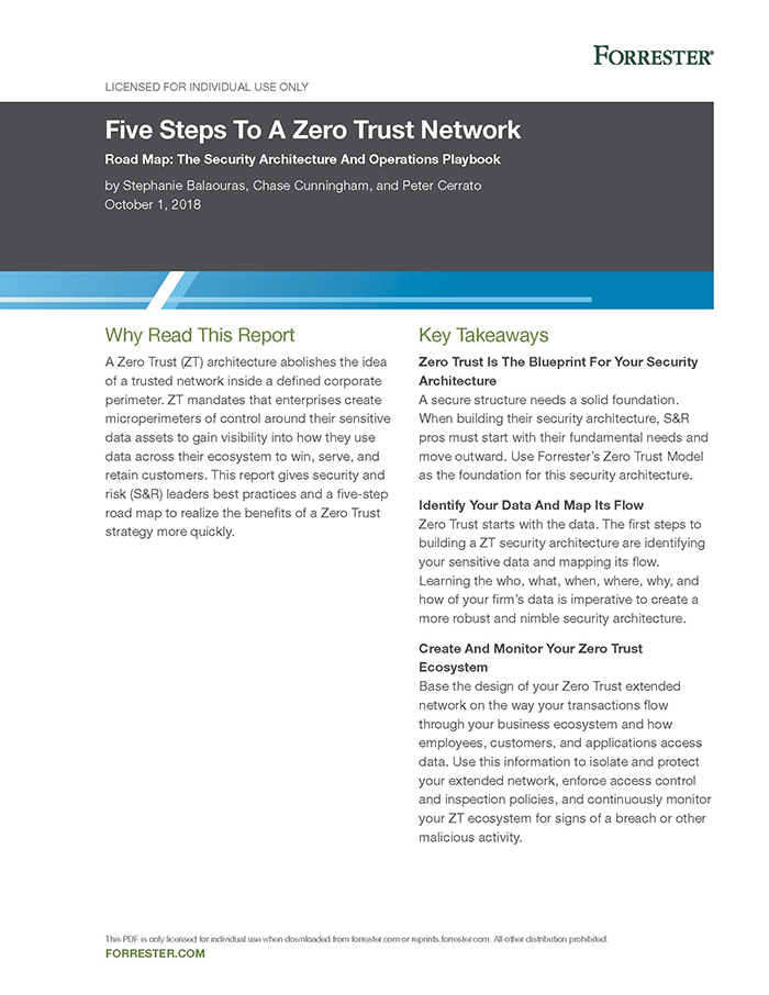 Forrester - Five Steps To A Zero Trust Network