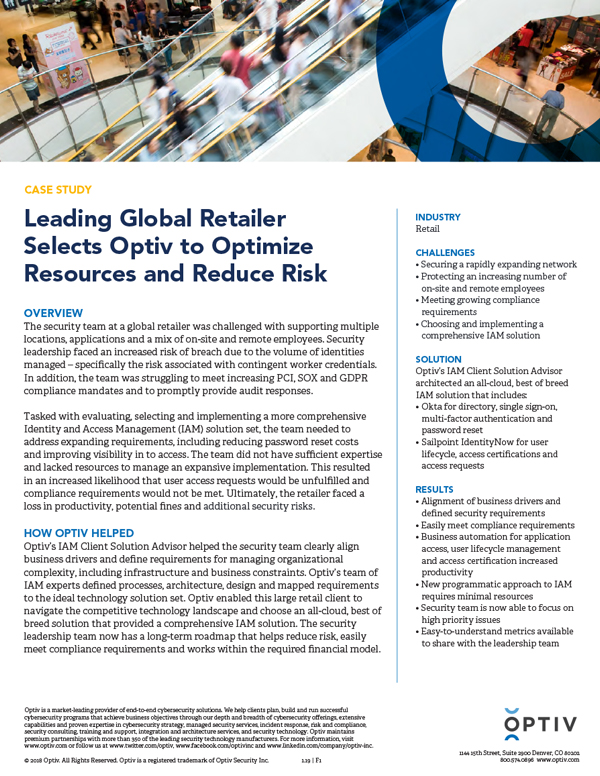 Leading Global Retailer Selects Optiv to Optimize Resources and Reduce Risk