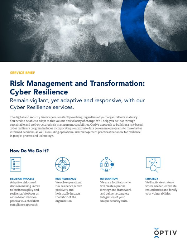 Risk Management and Transformation: Cyber Resilience