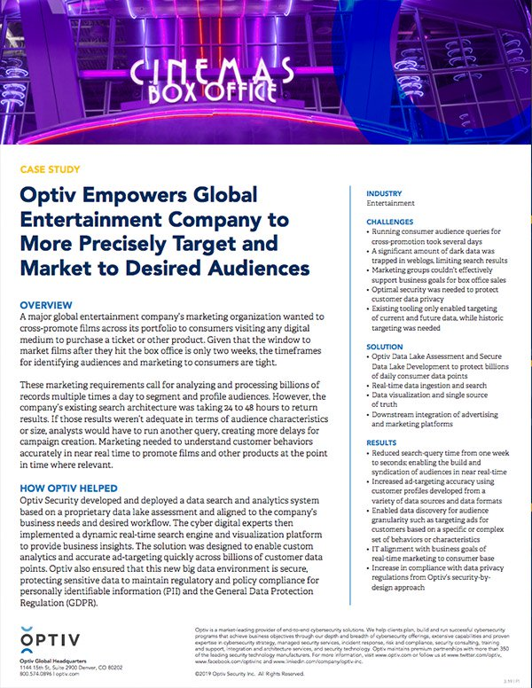 Optiv Empowers Global Entertainment Company to More Precisely Target and Market to Desired Audiences