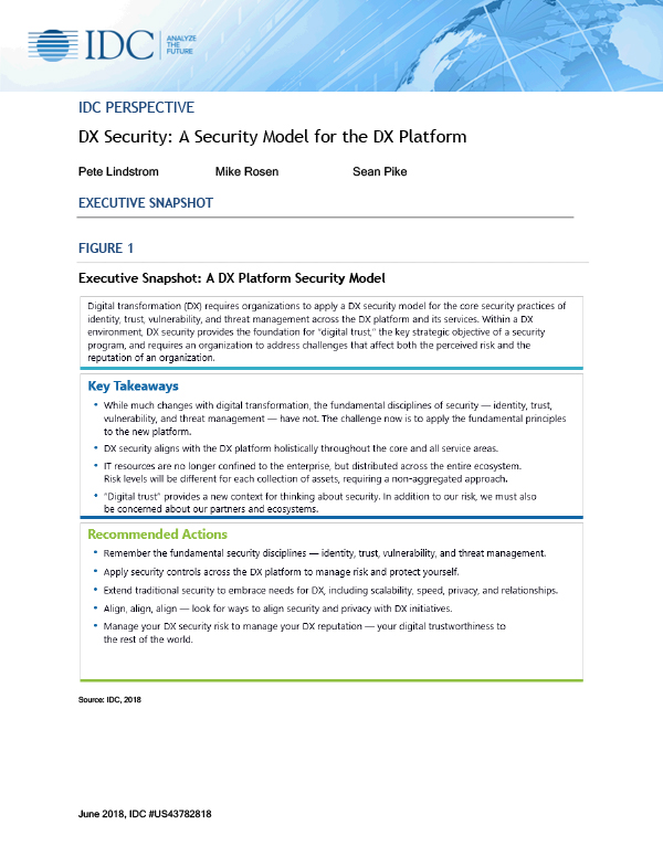 IDC Perspective: DX Security: A Security Model for the DX Platform