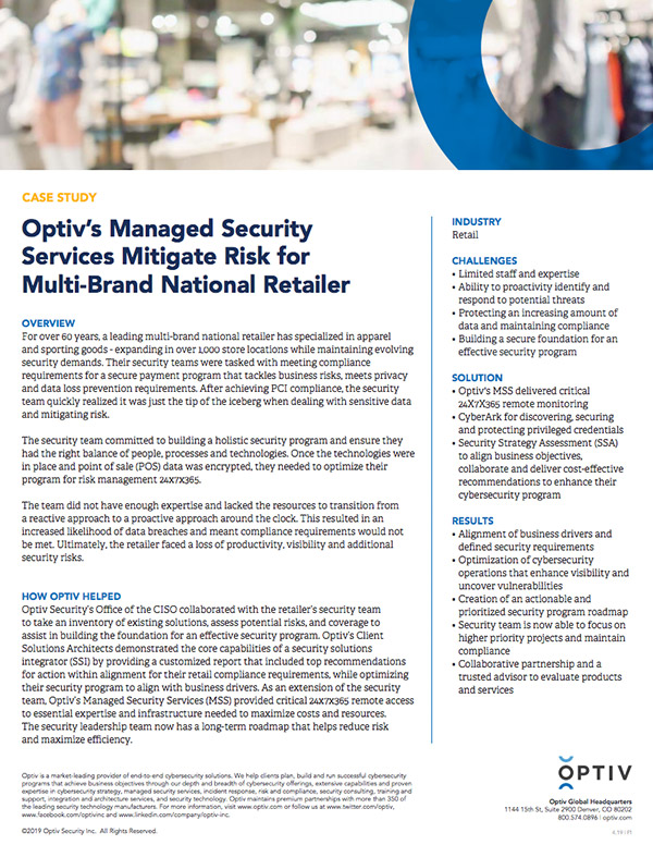 Optiv's Managed Security Services Mitigate Risk for Multi-Brand National Retailer