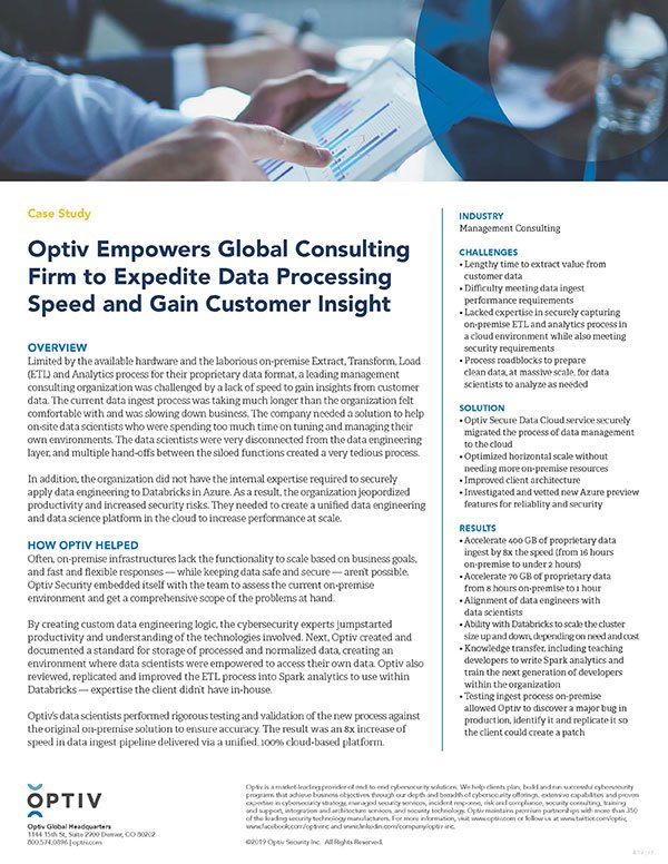Optiv Empowers Global Consulting Firm to Expedite Data Processing Speed and Gain Customer Insight