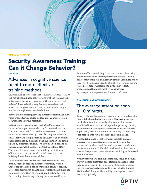 Security Awareness Training Brief