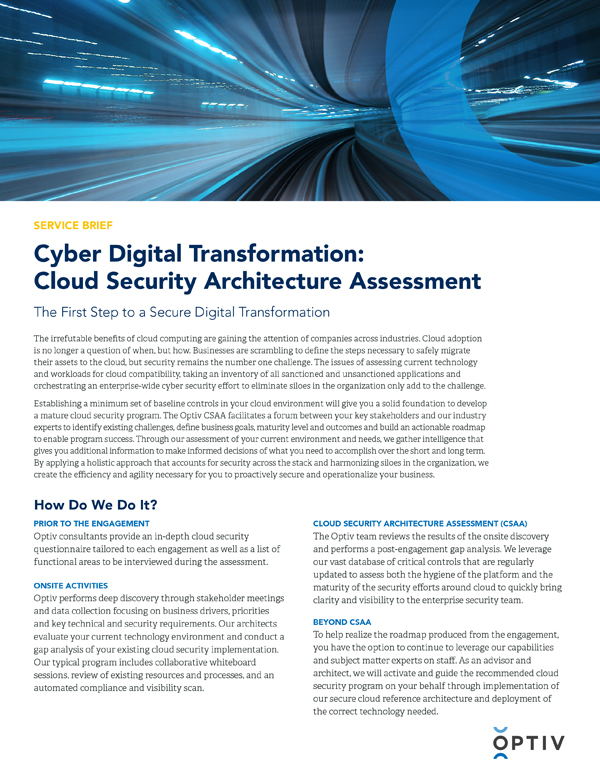 Cyber Digital Transformation: Cloud Security Architecture Assessment (CSAA)