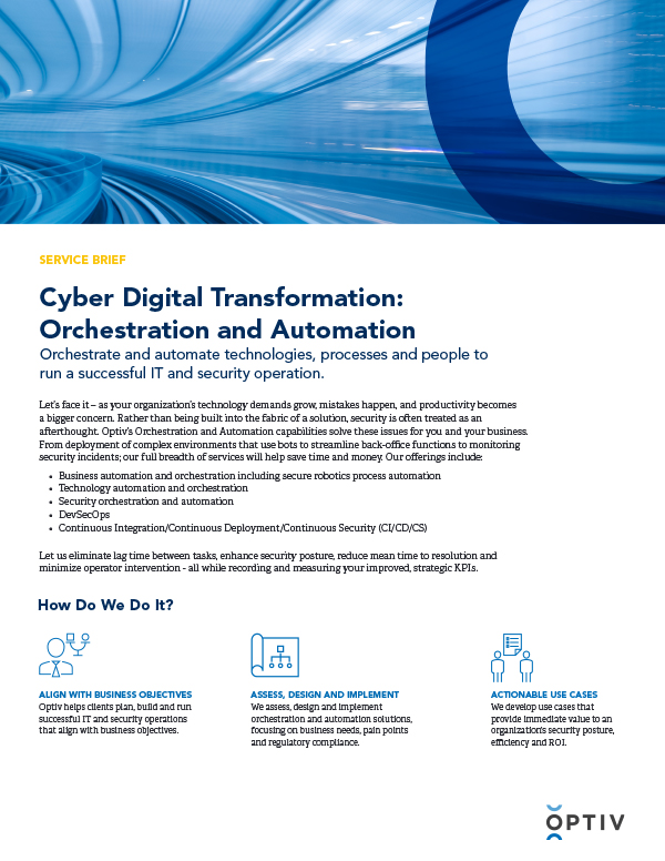 CDX Orchestration and Automation Service Brief