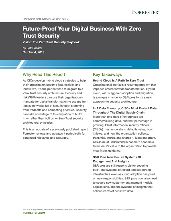 Forrester: Future-Proof Your Digital Business with Zero Trust Security