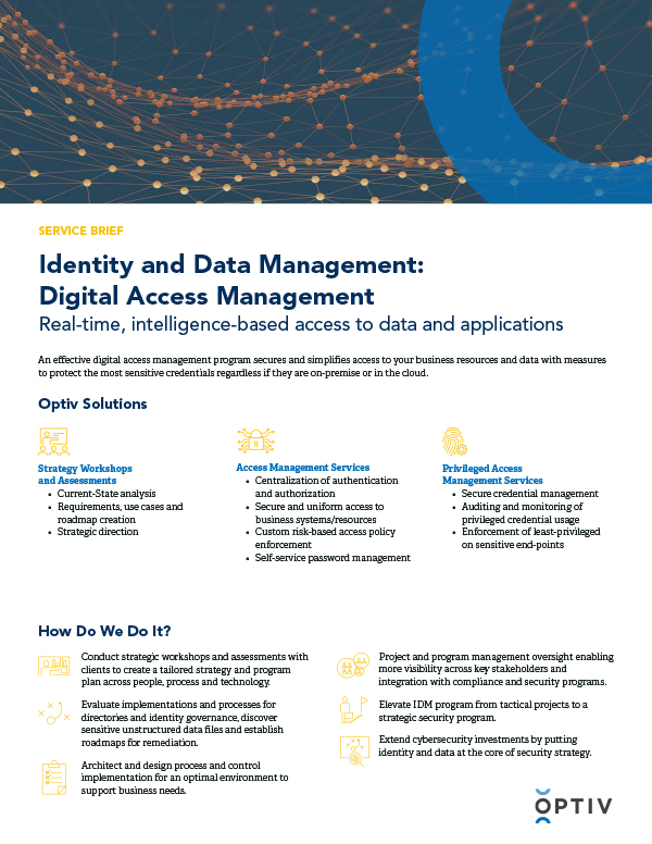 Identity and Data Management: Digital Access Management Service Brief