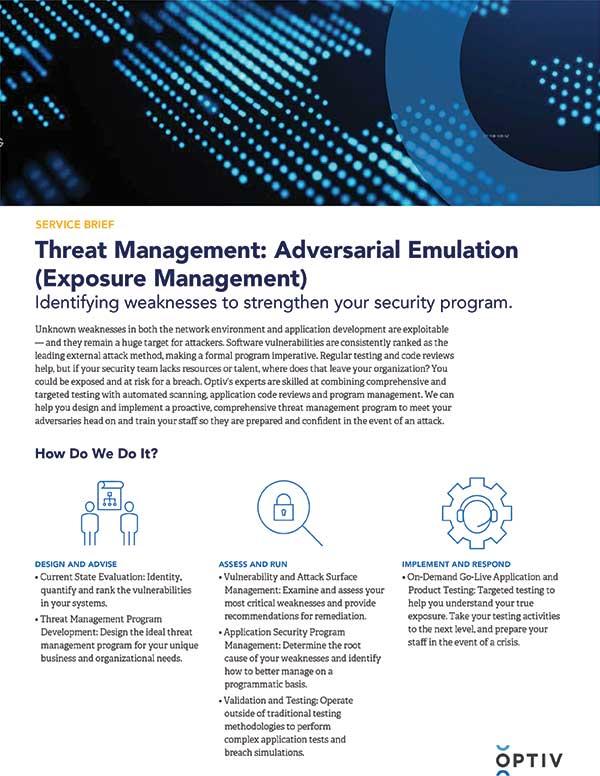 Threat Management: Adversarial Emulation Service Brief