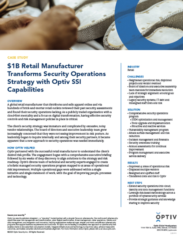 $1B Retail Manufacturer Transforms Security Operations with Optiv SSI Capabilities