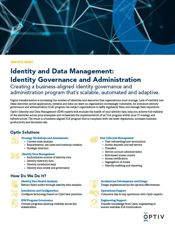 Identity and Data Management: Identity Governance and Administration