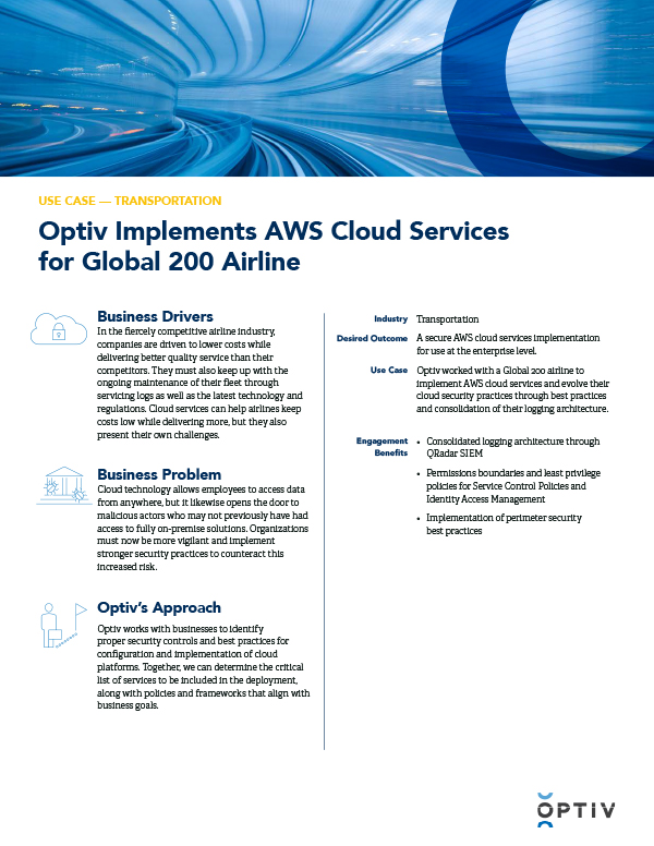 Optiv Implements AWS Cloud Services for Global 200 Airline