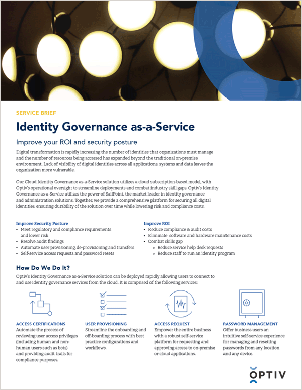 Identity and Data Management: Identity Governance as-a-Service