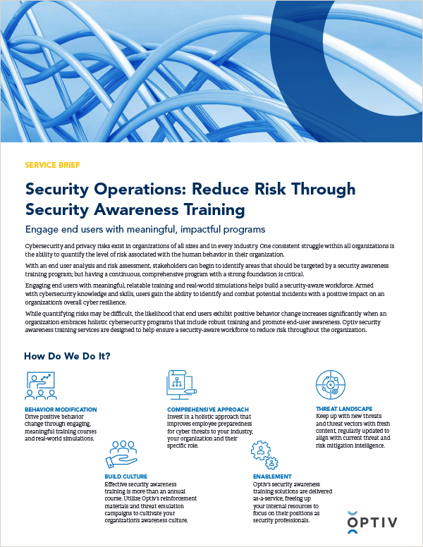 Security Operations: Reduce Risk Through Security Awareness Training