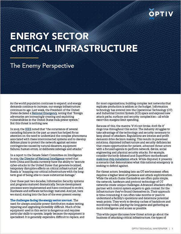 Enemy Perspective - Energy Sector Critical Infrastructure