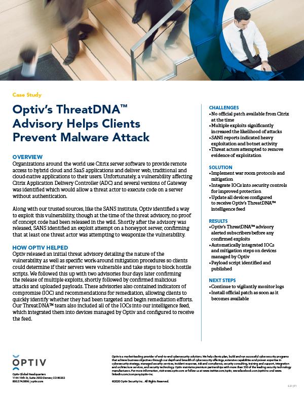 Optiv's ThreatDNA(TM) Advisory Helps Clients Prevent Malware Attack