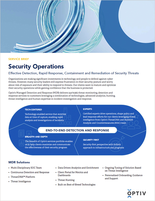 Security Operations Managed Detection and Response (MDR) Service Brief